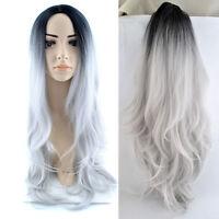 "Fashion Women Long Wavy Ombre Black Gray Wig Dip Dye Hair Cosplay Full Wigs 28"""