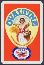 Playing Cards 1 Swap Card - Vintage 1980 Olympics OVALTINE GIRL Advertising #1
