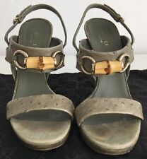 Gucci Ostrich Leather High Heel Shoes 38.5