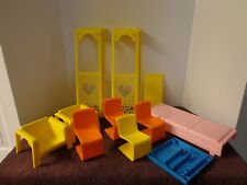 Barbie Townhouse 1973 Lot of Furniture Chairs, Table, Bed, Elevator