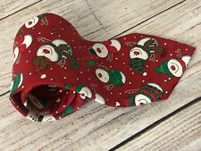HALLMARK Yule Tie Greetings Red Neck tie with Snowman snowmen Novelty Christmas