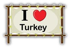 I Love Turkey Banner Travel Car Bumper Sticker Decal Sizes