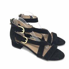 Bettye Muller Concept Sandals Size 11 Womens Black Suede Abel Heel Gold Bee Zip