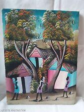 "Ethnic Haiti Haitian Art Painting Canvas Signed YVES  12"" x 16"""
