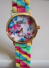 Fashion Jelly Silicone Candy Colors/Flower Girls Ladies Womens Quart Wrist Watch