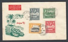 1954 Illustrated First Day Of Issue Antigua FDC displaying four QEII stamps