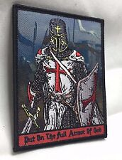 PUT ON FULL ARMOR OF GOD Knights Templar Morale Patch Crusader Sword Army Cross