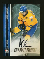 Anton Karlsson signed 2013-14 In The Game Rookie auto Autograph card # A-AKA1