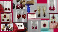 Silver Gold Earrings Swarovski crystal Pure plated Ohrringe roten Haken Frauen