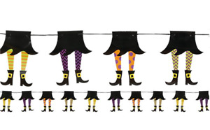 HALLOWEEN WITCH LEG GARLAND BANNER HANGING PARTY DECORATION 210CM WITCHES