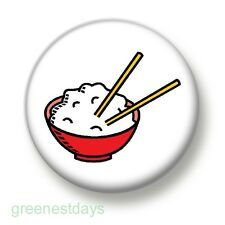 Bowl Of Rice 1 Inch / 25mm Pin Button Badge Chinese Takeaway Takeout Noodles Fun