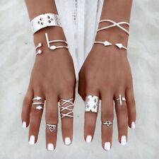 8Pcs/Set Boho Women Stack Plain Knuckle Ring Silver Midi Finger Tip Rings New CA