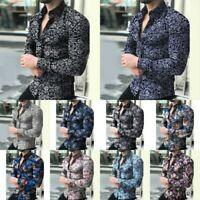 Mens Fashion Casual Long Sleeve Shirts Business Slim T-Shirt Printed Blouse Tops
