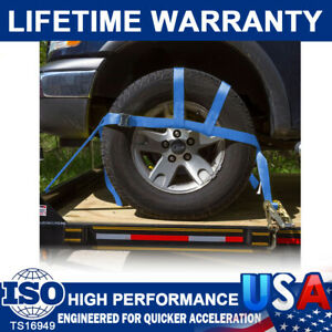2 Car Heavy Duty Basket Tiedown Straps Tire Tow Dolly Wheel Net Set W/Flat Hooks