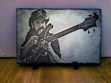 """Lemmy Motorhead Sketch Art Portrait on Rock Slate 12x8"""" Rare memorabilia"""