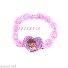 Disney Doc McStuffins Purple Loom Rubber Band Bracelet Lambie Heart New