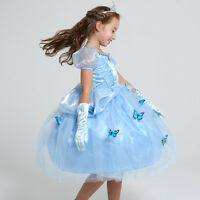 Cinderella Dress Up Disney Princess Costume Party Birthday Gift Girl Butterfly