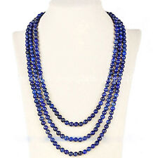 6mm Natural Blue Lapis Lazuli Beads Lady's Necklace 60Inch PN1334