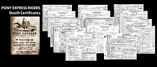 Pony Express Riders 14 DEATH CERTIFICATES Lot + Recruiting POSTER, Research Docs