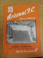10/04/1950 Arsenal v Stoke City  (neat team changes and writing on front). This