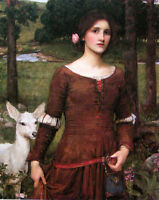 """Huge Oil painting J. W. Waterhouse - The Lady Clare with goat in forest view 36"""""""