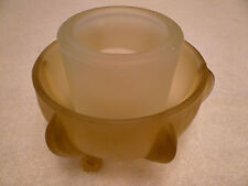 2 PIECE FROSTED GLASS VOTIVE CANDLE HOLDER GREEN & WHITE WITH 3 LEG BASE