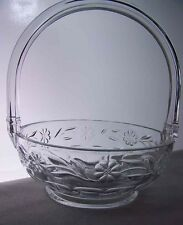 """Antique Heisey Glass #480 8"""" Daisy & Leaves Basket Crystal Marked"""