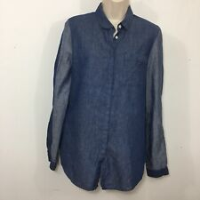 M. Patmos Size M Womens Long Sleeve Button Down Chambray Top Blue Two Tone