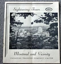 1930s MONTREAL QUEBEC CANADA Tourism Brochure TOURS Canadian Transfer Company
