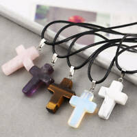 Natural Quartz Crystal Stone Chakra Healing Gemstone Cross Pendant Necklace Bs