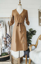 Vintage Style Anthropologie Cotton Camel Dress L Large Cotton Midi Buttons Mod