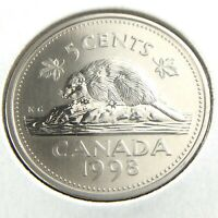 1998 Specimen Canada 5 Cents Nickel Uncirculated Canadian Coin Five Cents N680