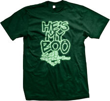 He's My Boo Skeleton Hand Glow In The Dark Neon Halloween Mens T-shirt
