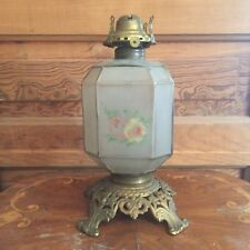 Antique Scoville Frosted Glass With Hand Painted Flowers Oil Lamp