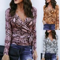 Womens V-Neck Long Sleeve Snake Print Tops Ladies Bandage Wrap Top Shirt Blouse