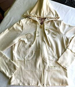 Pepe Jeans London Hoodie Size M Women Off White with Bling