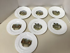 """7 QUEENS FINE BONE CHINA HORCHOW COLLECTION MADE IN ENGLAND BUNNY 8"""" PLATES"""