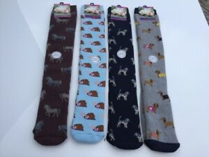 Ladies Welly Socks 4 Pairs Cotton Rich Long Animal Wellington Boot Sock 4-7