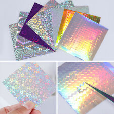 8 Sheets BORN PRETTY Holo 3D Nail Stickers Wave Line Candy Nail Foil Decals Tips
