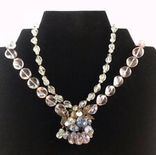 Gorgeous Vintage Unsigned DeMario Rhinestone Art Glass Necklace