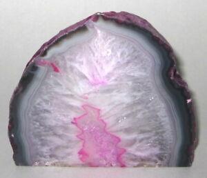 "Brazilian Agate Pink Geode Crystal Candle Holder 4"" Stone Rock Candleholder"