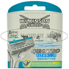 8 Wilkinson Quattro Titanium Sensitive Rasierklingen Neu OVP Aloe Vera
