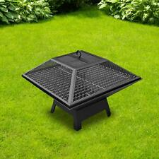 More details for large fire pit bbq firepit brazier garden table stove patio heater grill poker