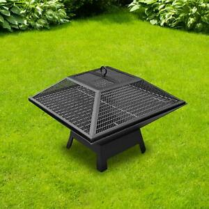 Large Fire Pit BBQ Firepit Brazier Garden Table Stove Patio Heater Grill Poker