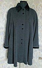Grey vintage wool mix swing coat NUAGE DEBENHAMS Size 18 Black velvet trim