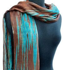 "Hand-Dyed, Silk Scarf. 72"" x 20"" India Bandhej. Brown, Turquoise Chiffon Shibori"