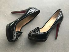 7e5bbc33fa0 Women s CHRISTIAN LOUBOUTIN Black Platform Peep Toe Patent Loafer Pumps Size  40