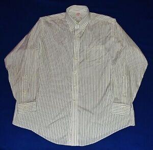 BROOKS BROTHERS MAKERS Non-Iron White Gray Stripes Dress Shirt 17x35 NICE