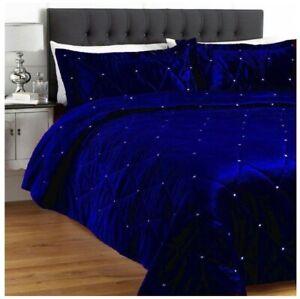 5 Pc Royal Blue Crystal Quilted / Duvet / Comforter / Quilt Velvet Bedspread Set