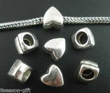 200PCs Gift Silver Tone Smooth Heart Spacers Beads Fit Charm Bracelet 8x7mm